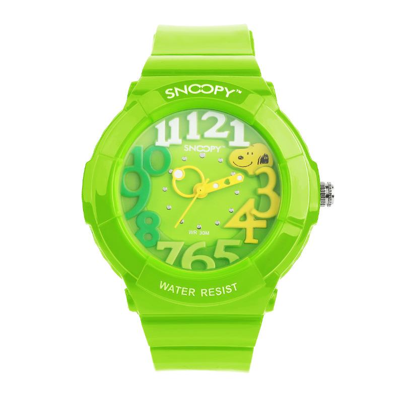 史努比儿童手表可爱果冻运动潮流男女童硅胶防水小学生石英表/三色可选