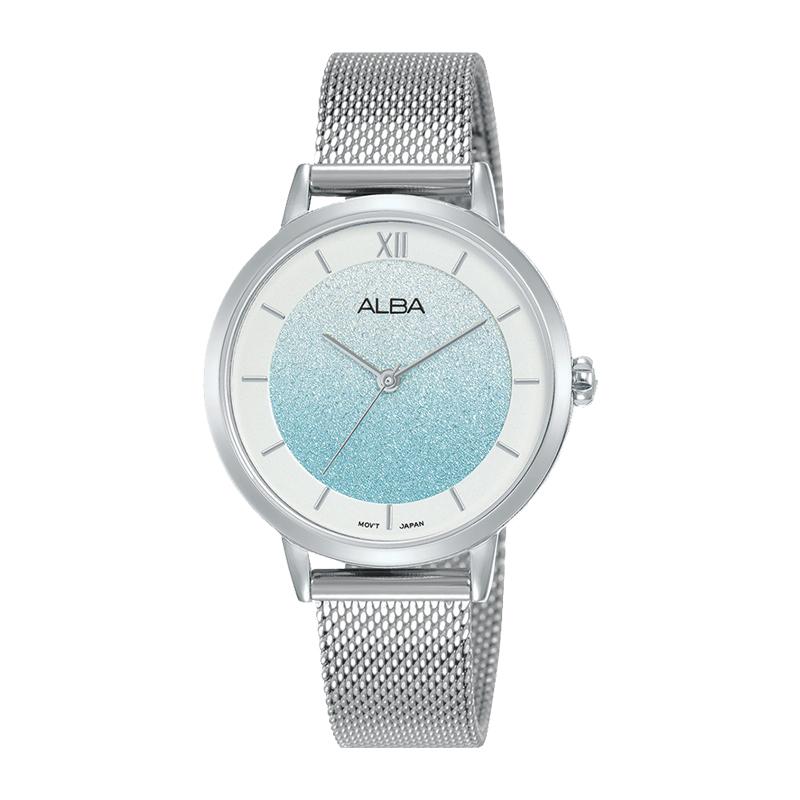 雅柏ALBA优雅休闲渐变蓝渐变刻度盘女士石英手表AH8631X1